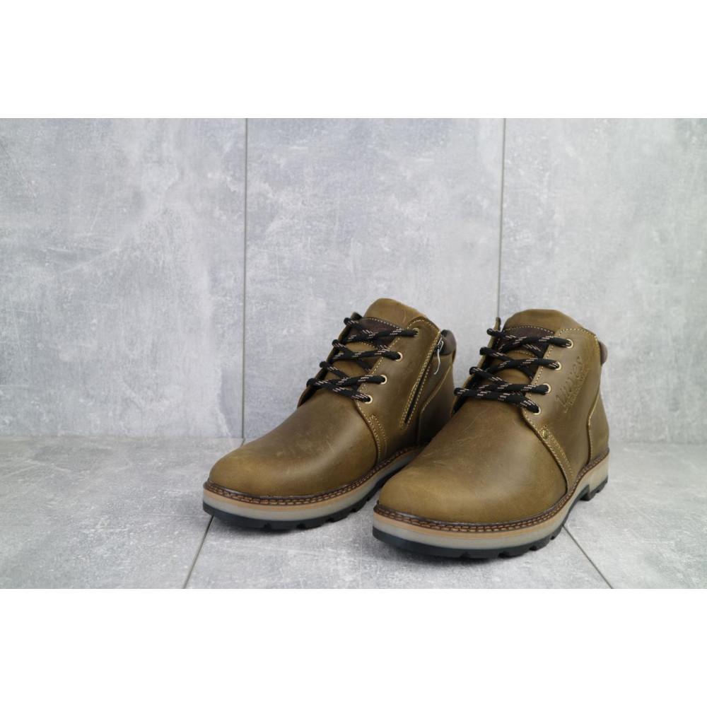 Мужские ботинки зимние - Мужские ботинки кожаные зимние оливковые Yuves 781 3