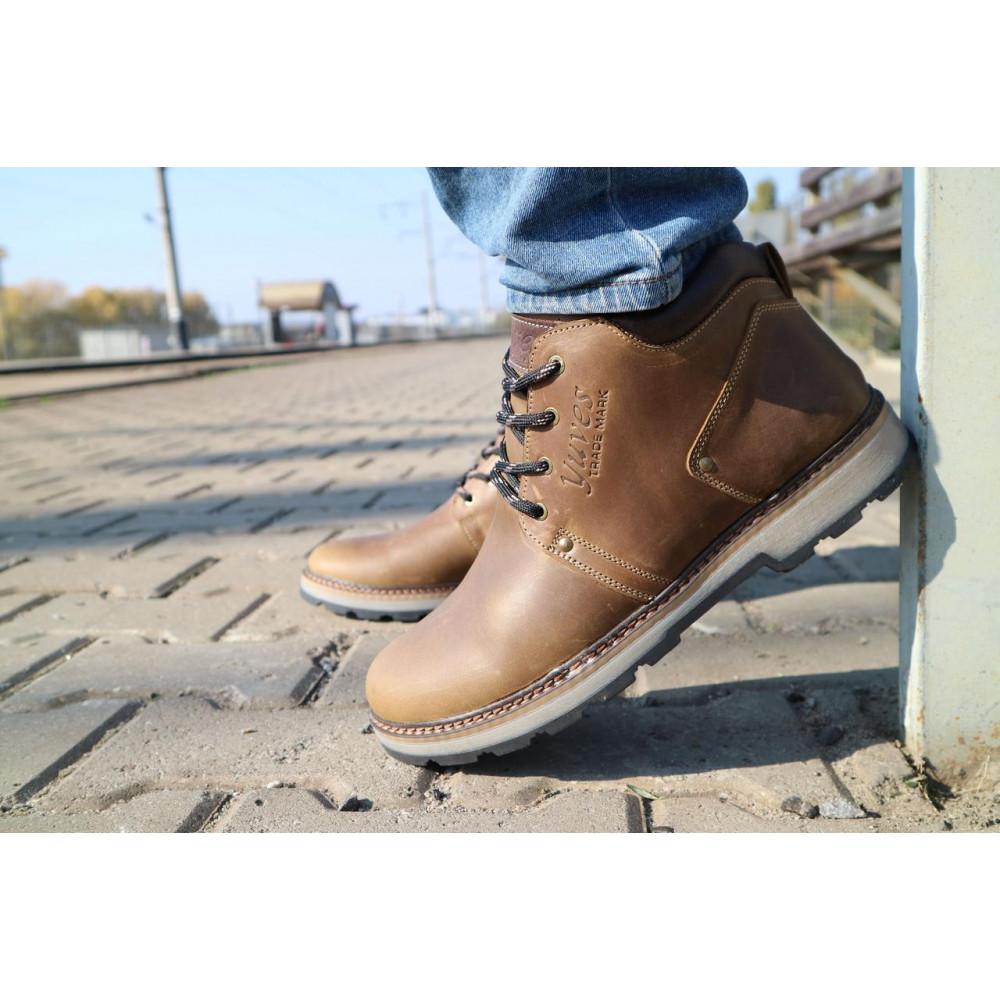 Мужские ботинки зимние - Мужские ботинки кожаные зимние оливковые Yuves 781