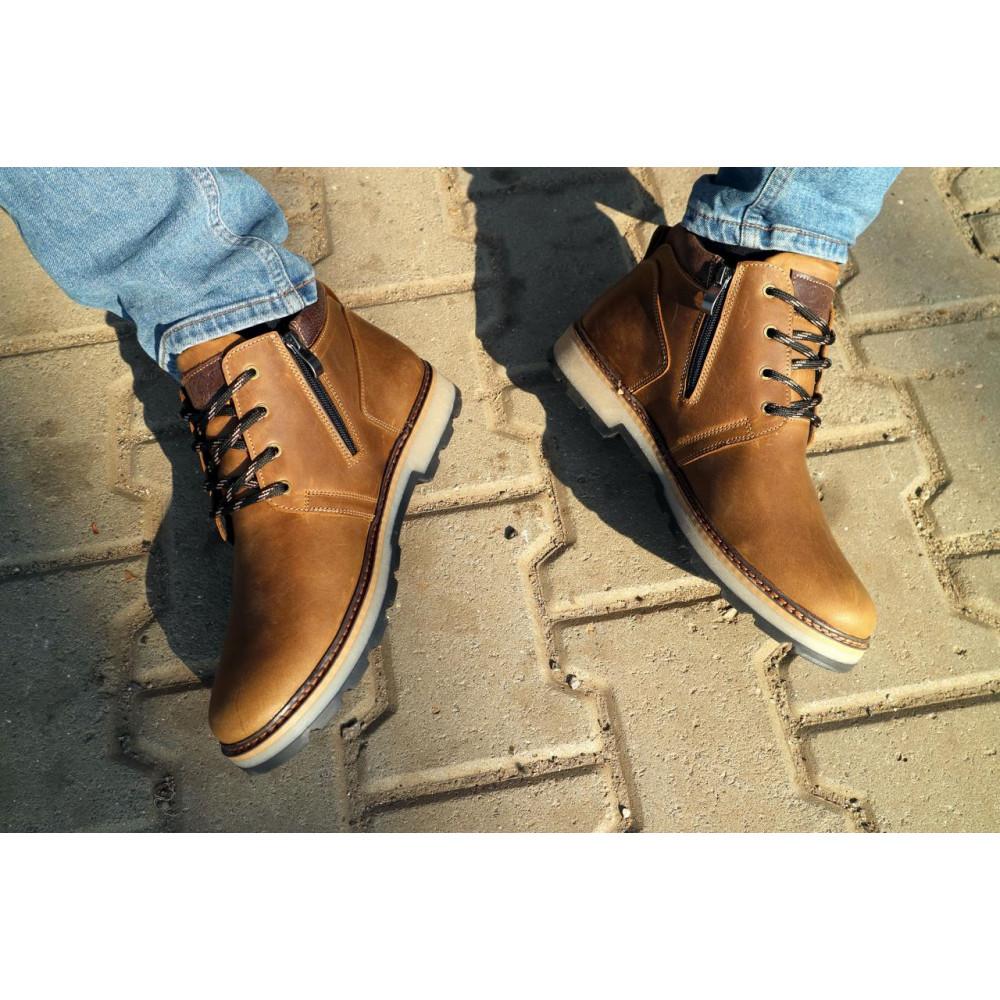 Мужские ботинки зимние - Мужские ботинки кожаные зимние оливковые Yuves 781 4