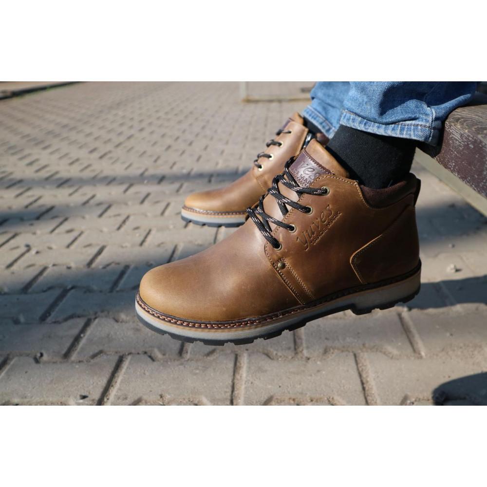 Мужские ботинки зимние - Мужские ботинки кожаные зимние оливковые Yuves 781 7