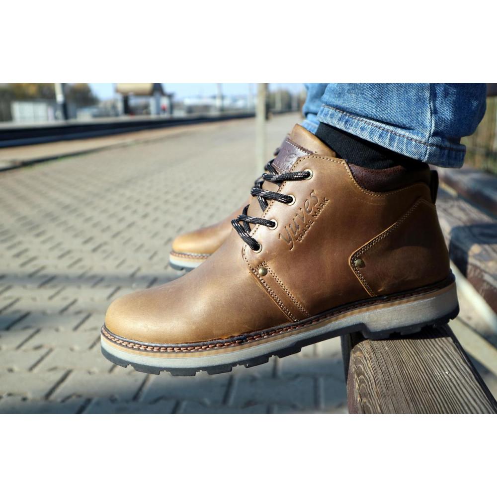 Мужские ботинки зимние - Мужские ботинки кожаные зимние оливковые Yuves 781 5