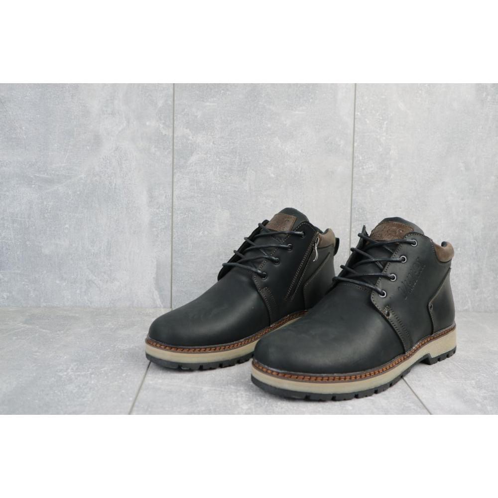 Мужские ботинки зимние - Мужские ботинки кожаные зимние черные-матовые Yuves 781 6