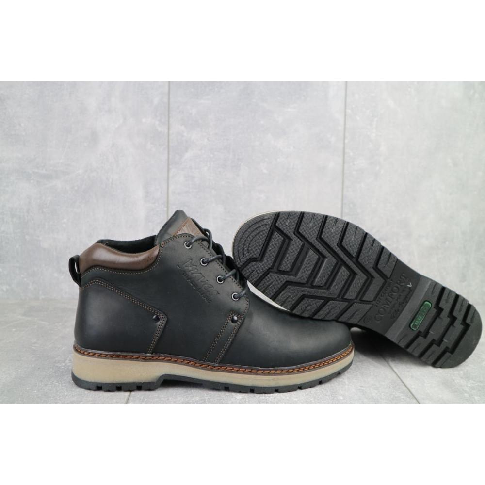 Мужские ботинки зимние - Мужские ботинки кожаные зимние черные-матовые Yuves 781 8