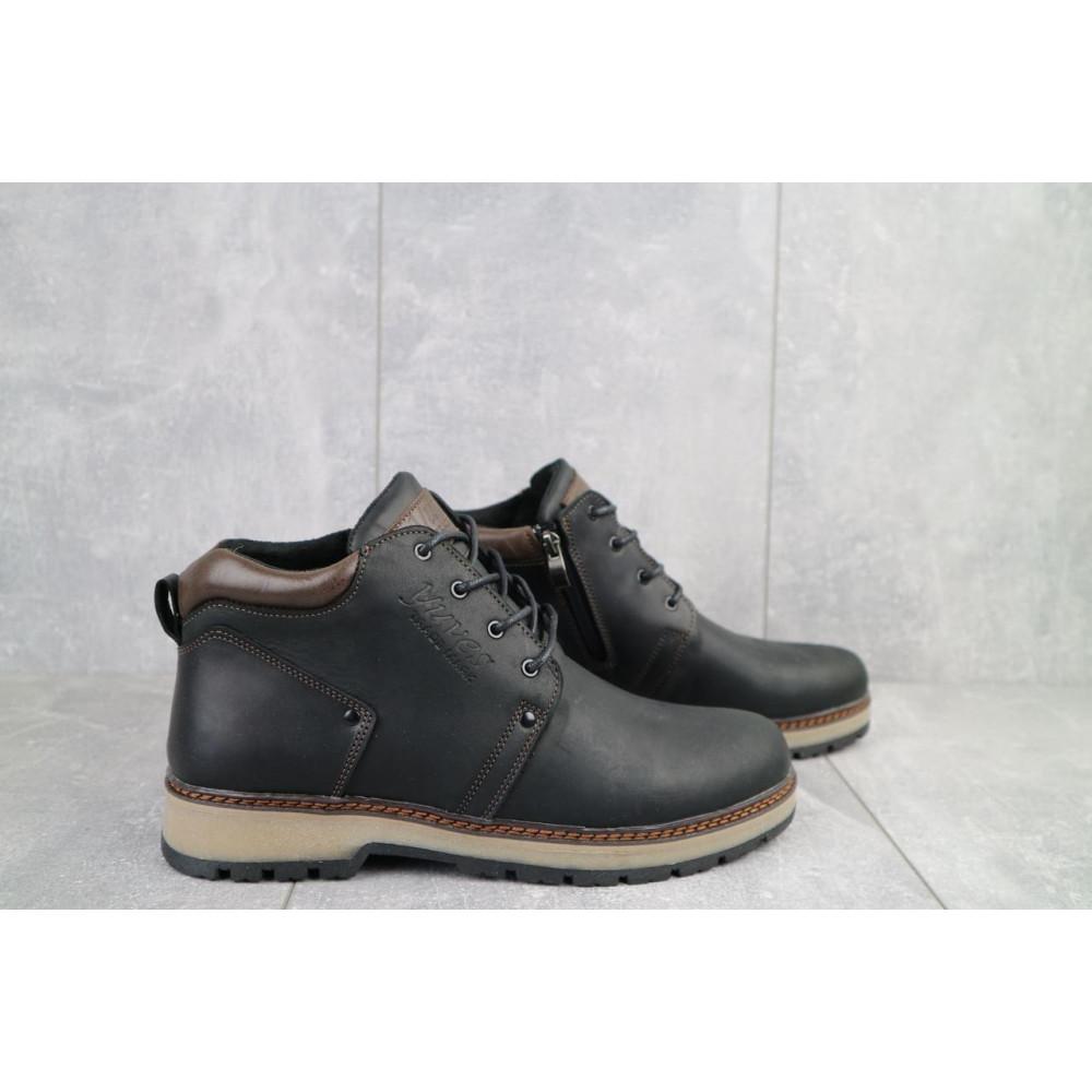 Мужские ботинки зимние - Мужские ботинки кожаные зимние черные-матовые Yuves 781 5