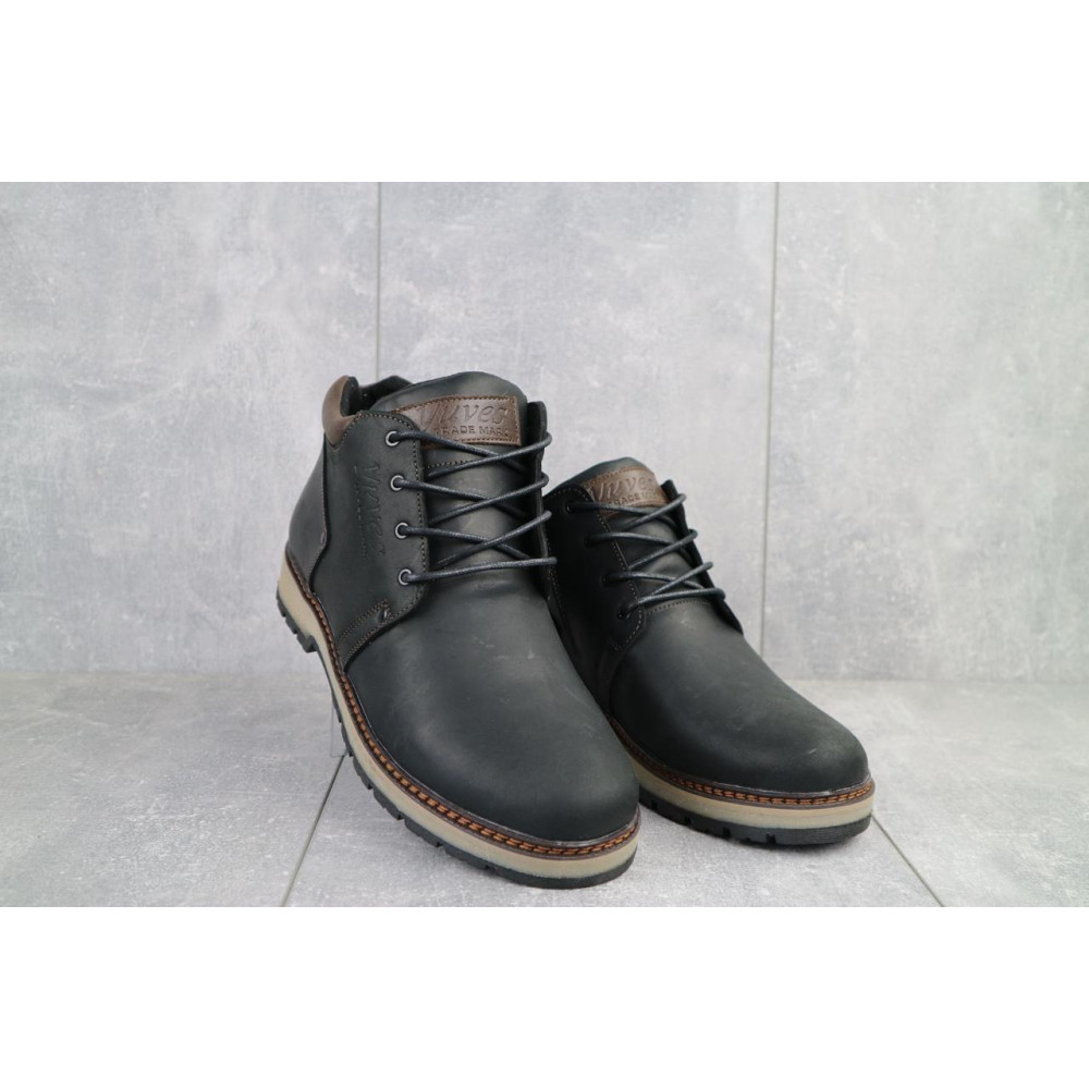 Мужские ботинки зимние - Мужские ботинки кожаные зимние черные-матовые Yuves 781 4
