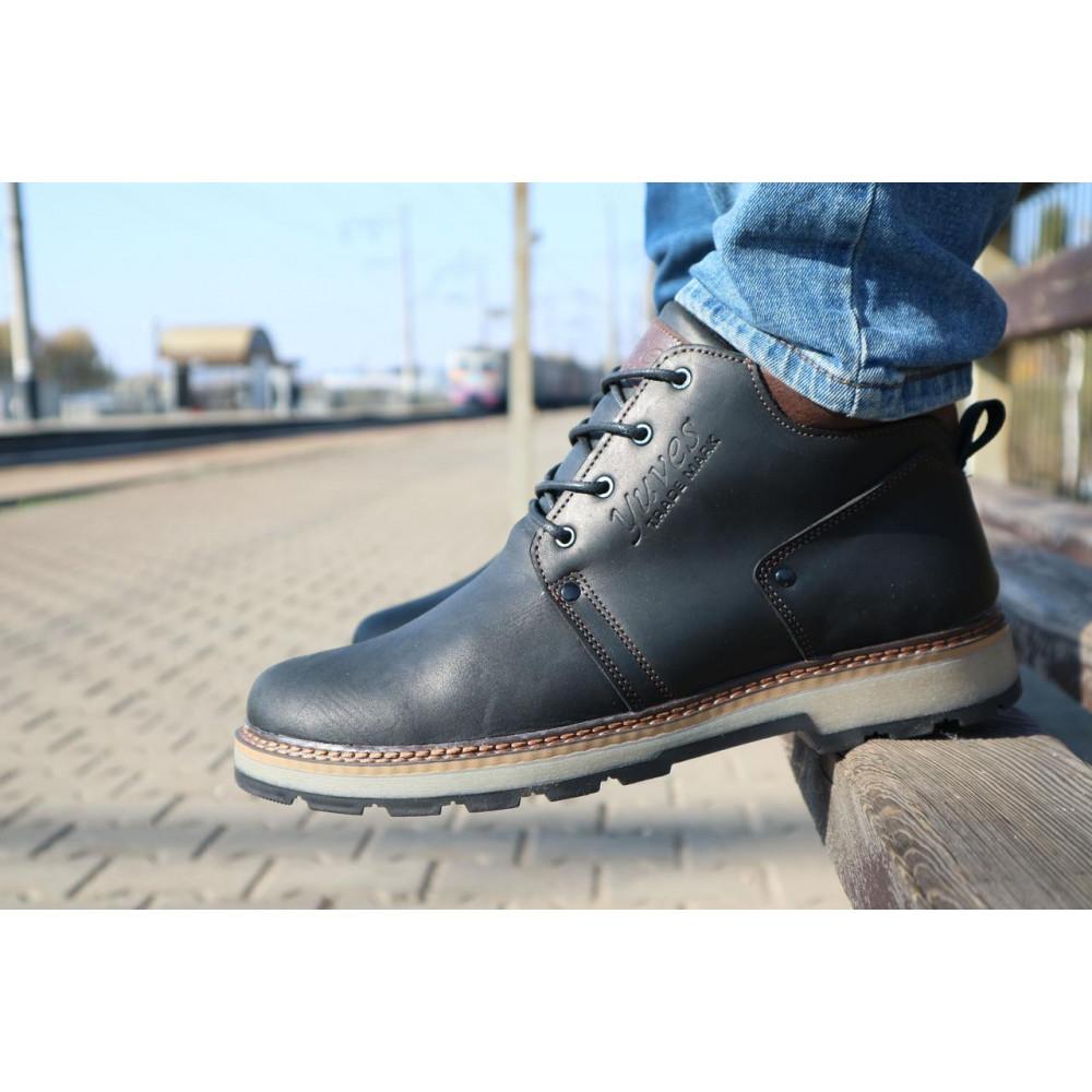 Мужские ботинки зимние - Мужские ботинки кожаные зимние черные-матовые Yuves 781 9