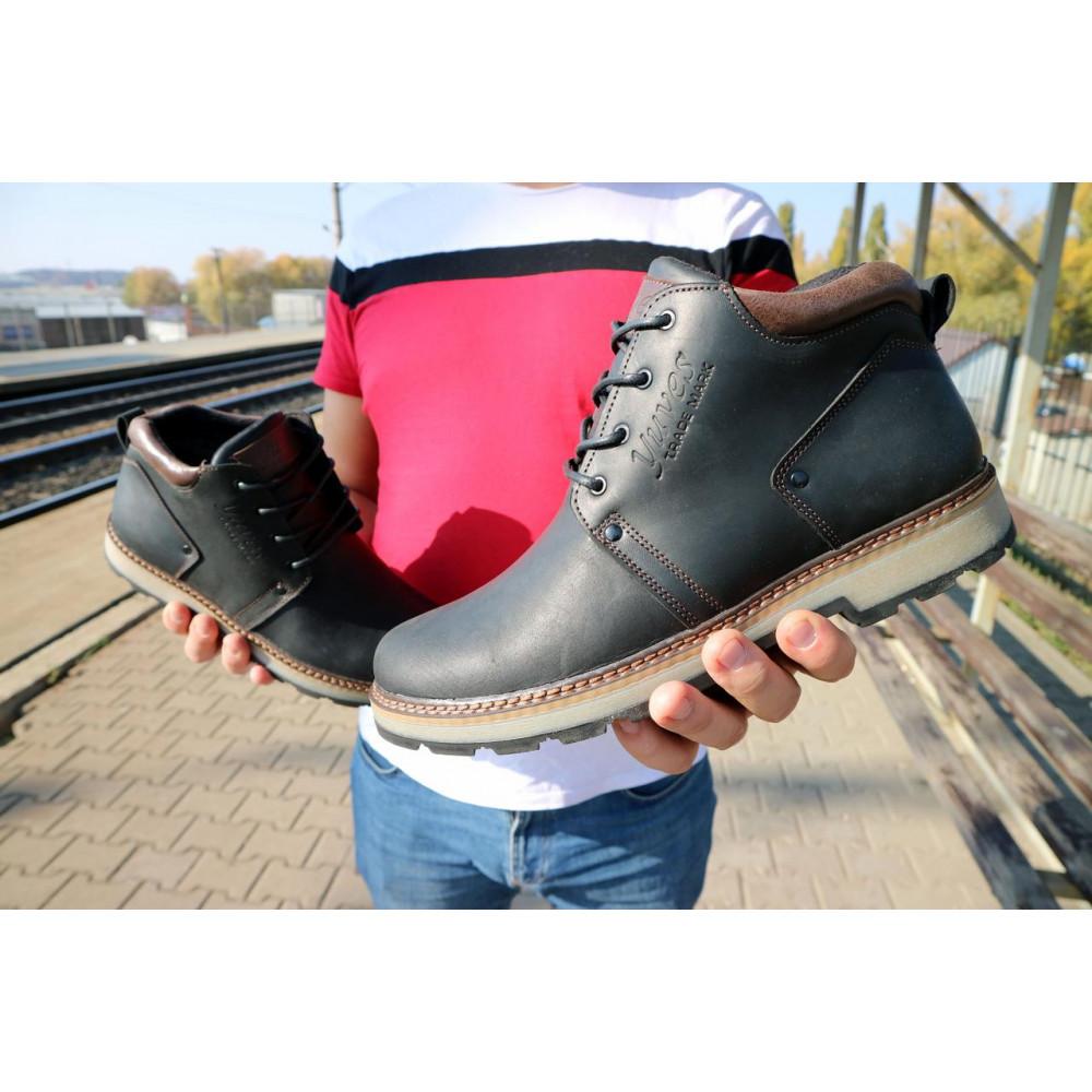Мужские ботинки зимние - Мужские ботинки кожаные зимние черные-матовые Yuves 781 3