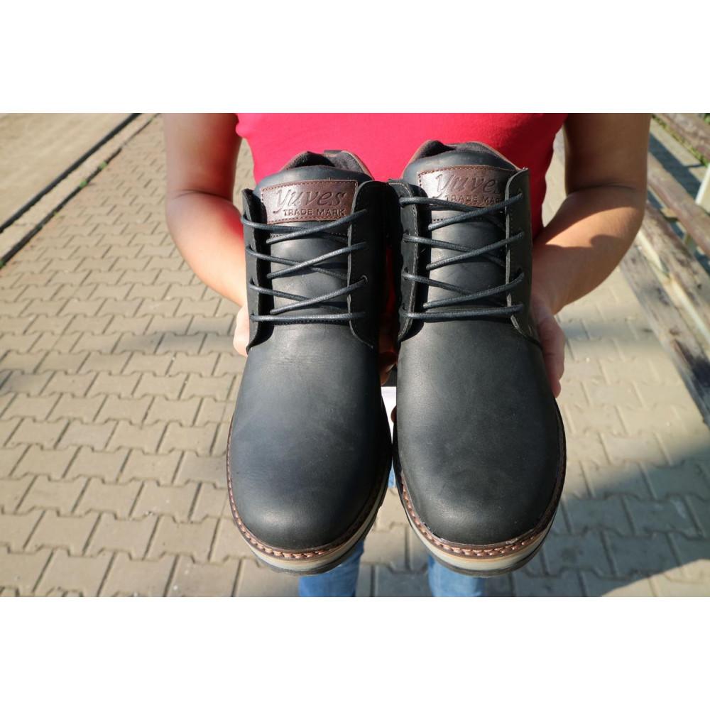 Мужские ботинки зимние - Мужские ботинки кожаные зимние черные-матовые Yuves 781 2