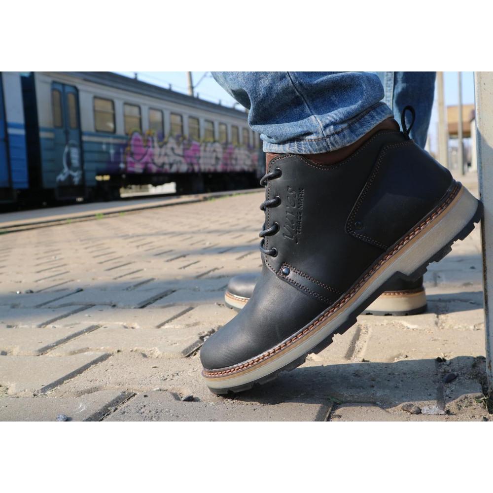 Мужские ботинки зимние - Мужские ботинки кожаные зимние черные-матовые Yuves 781