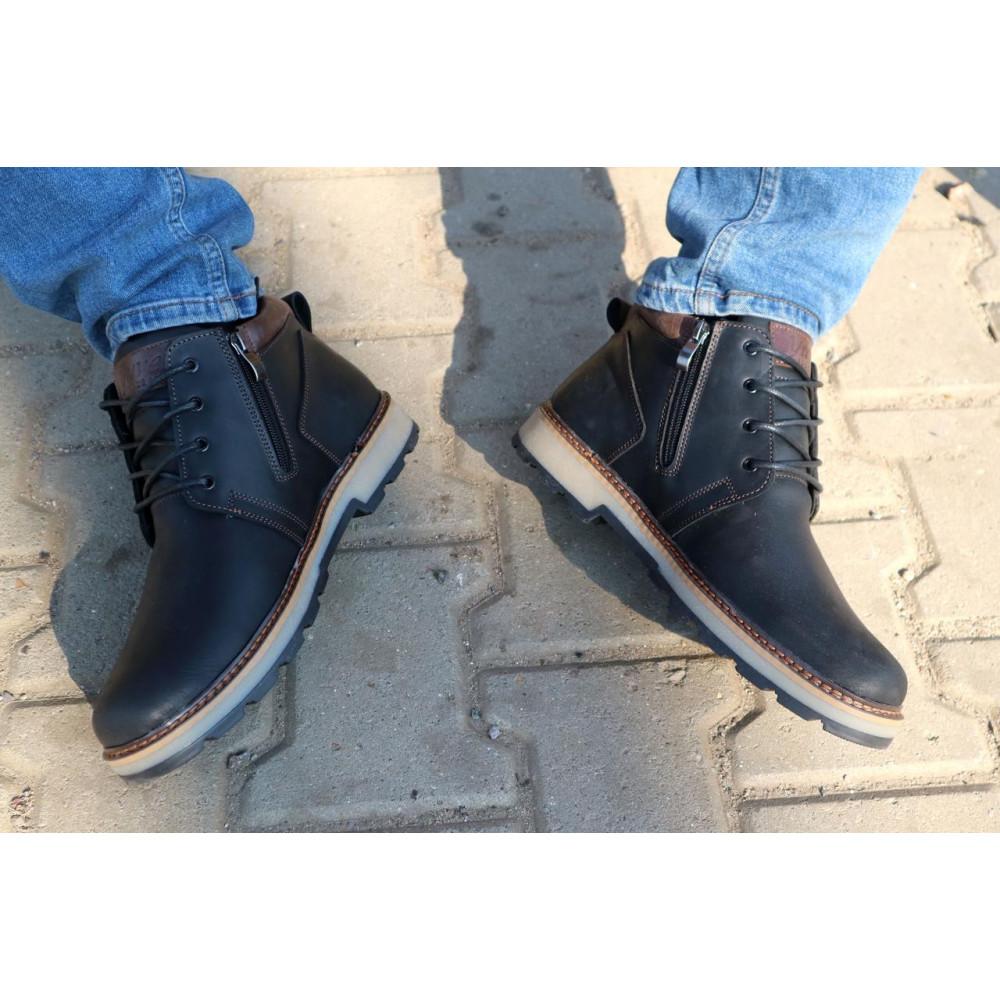 Мужские ботинки зимние - Мужские ботинки кожаные зимние черные-матовые Yuves 781 1