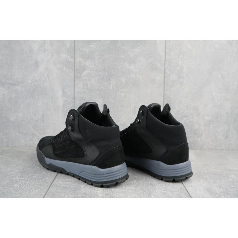 Зимние кроссовки мужские - Мужские кроссовки кожаные зимние черные-нубук CrosSAV 318 4