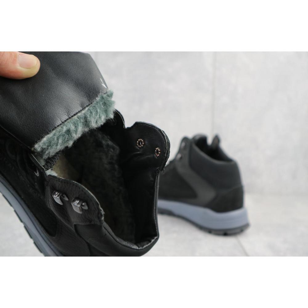 Зимние кроссовки мужские - Мужские кроссовки кожаные зимние черные-нубук CrosSAV 318 1