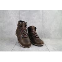 Подростковые ботинки кожаные зимние коричневые-матовые Yuves 783
