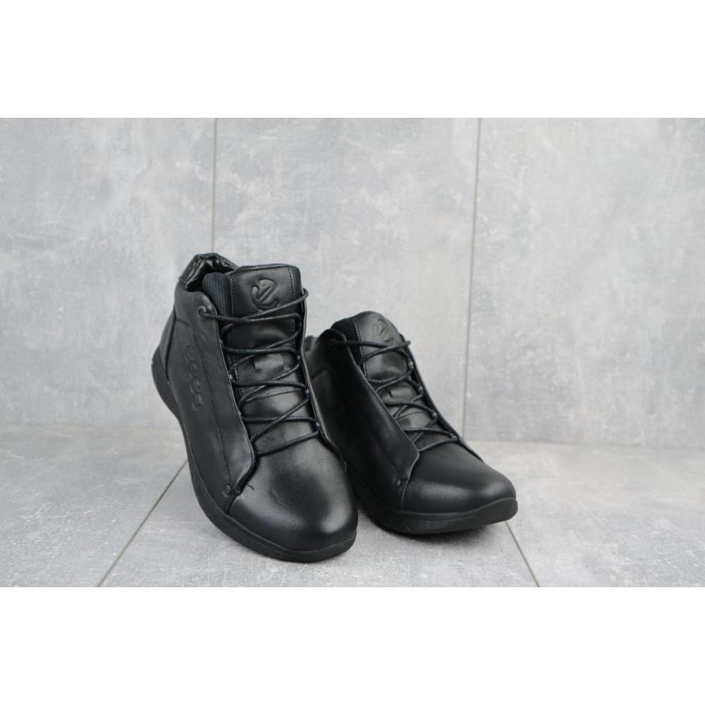 Зимние кроссовки мужские - Мужские кроссовки кожаные зимние черные Yavgor 700