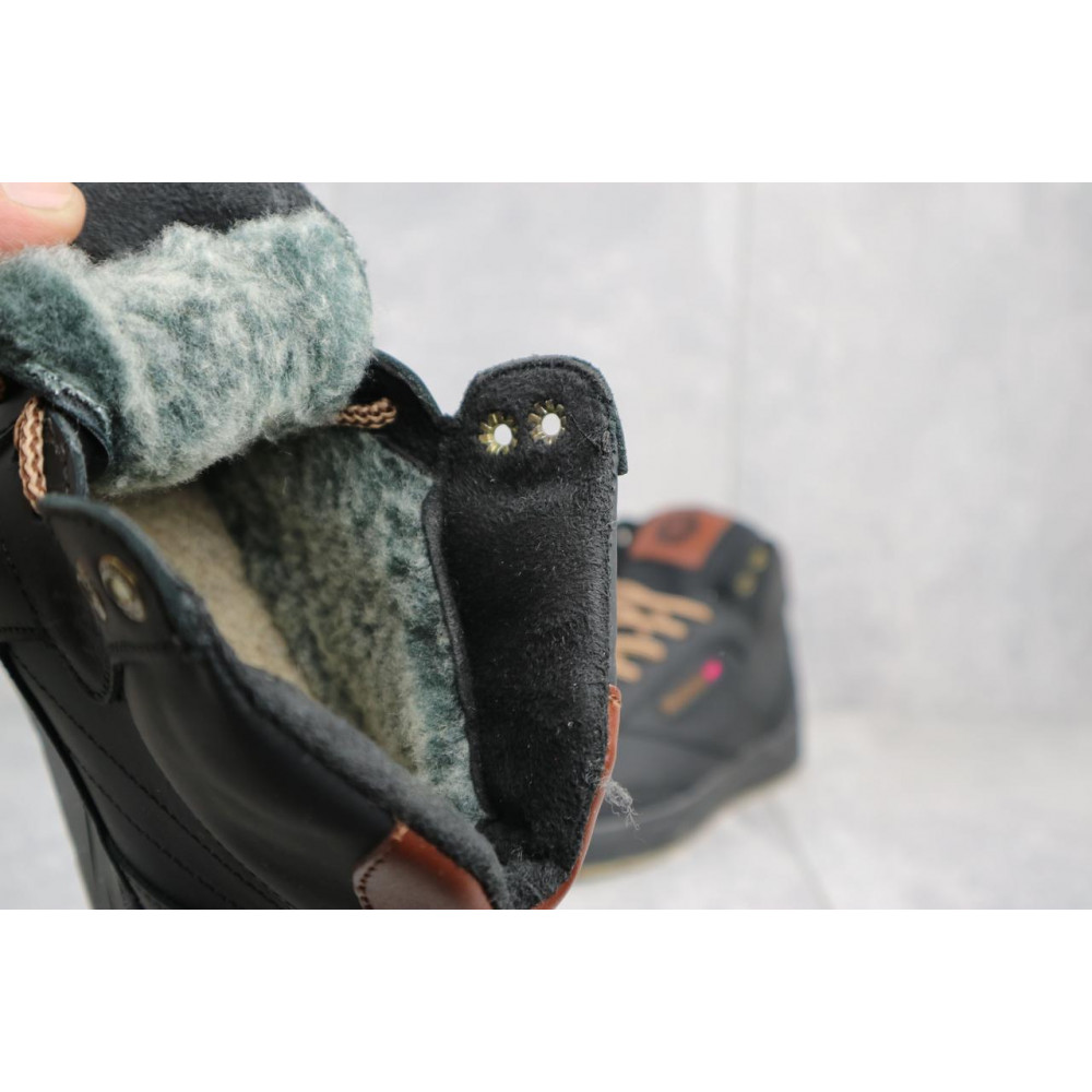 Мужские кеды зимние - Мужские кеды кожаные зимние черные-коричневые CrosSAV 300 4