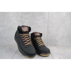 Мужские кеды кожаные зимние черные-коричневые CrosSAV 300