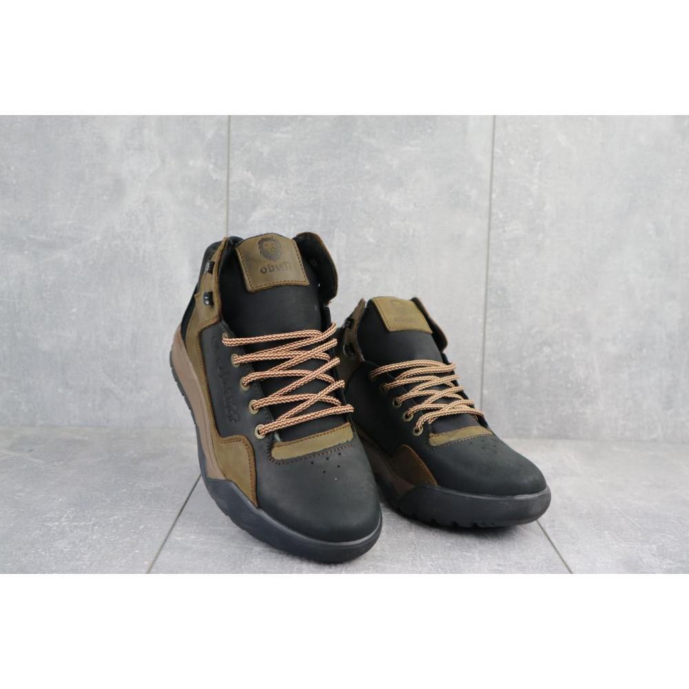 Зимние кроссовки мужские - Мужские кроссовки кожаные зимние черные-оливковые CrosSAV 318