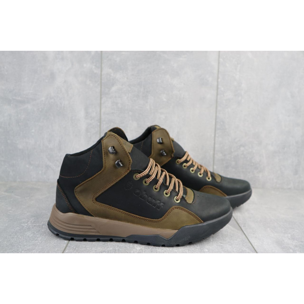 Зимние кроссовки мужские - Мужские кроссовки кожаные зимние черные-оливковые CrosSAV 318 3