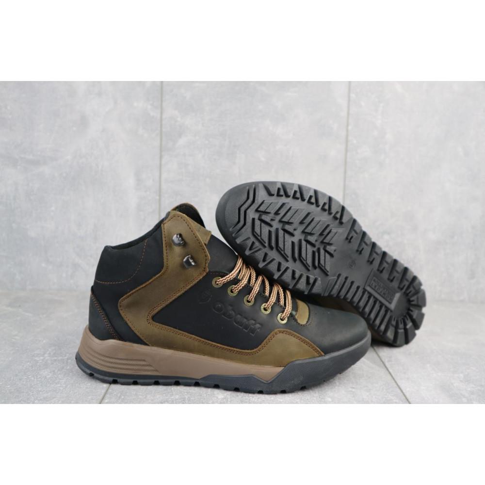 Зимние кроссовки мужские - Мужские кроссовки кожаные зимние черные-оливковые CrosSAV 318 5