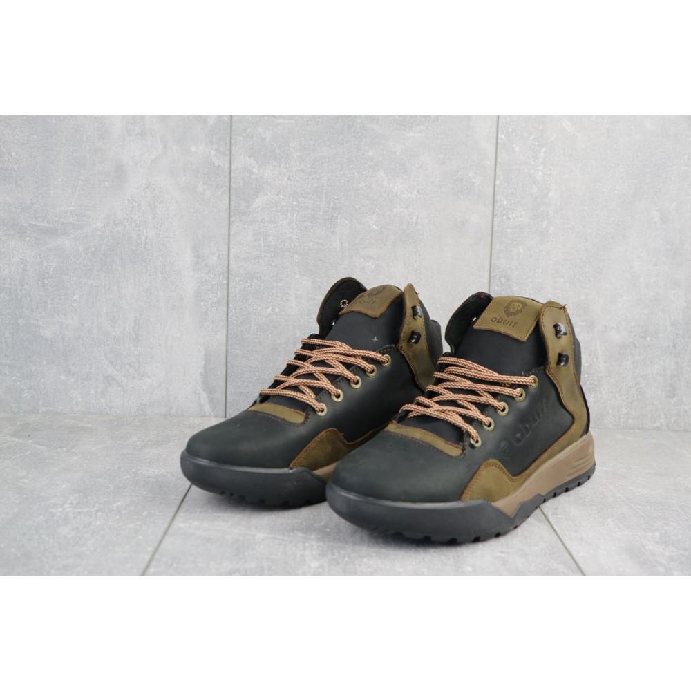 Зимние кроссовки мужские - Мужские кроссовки кожаные зимние черные-оливковые CrosSAV 318 4