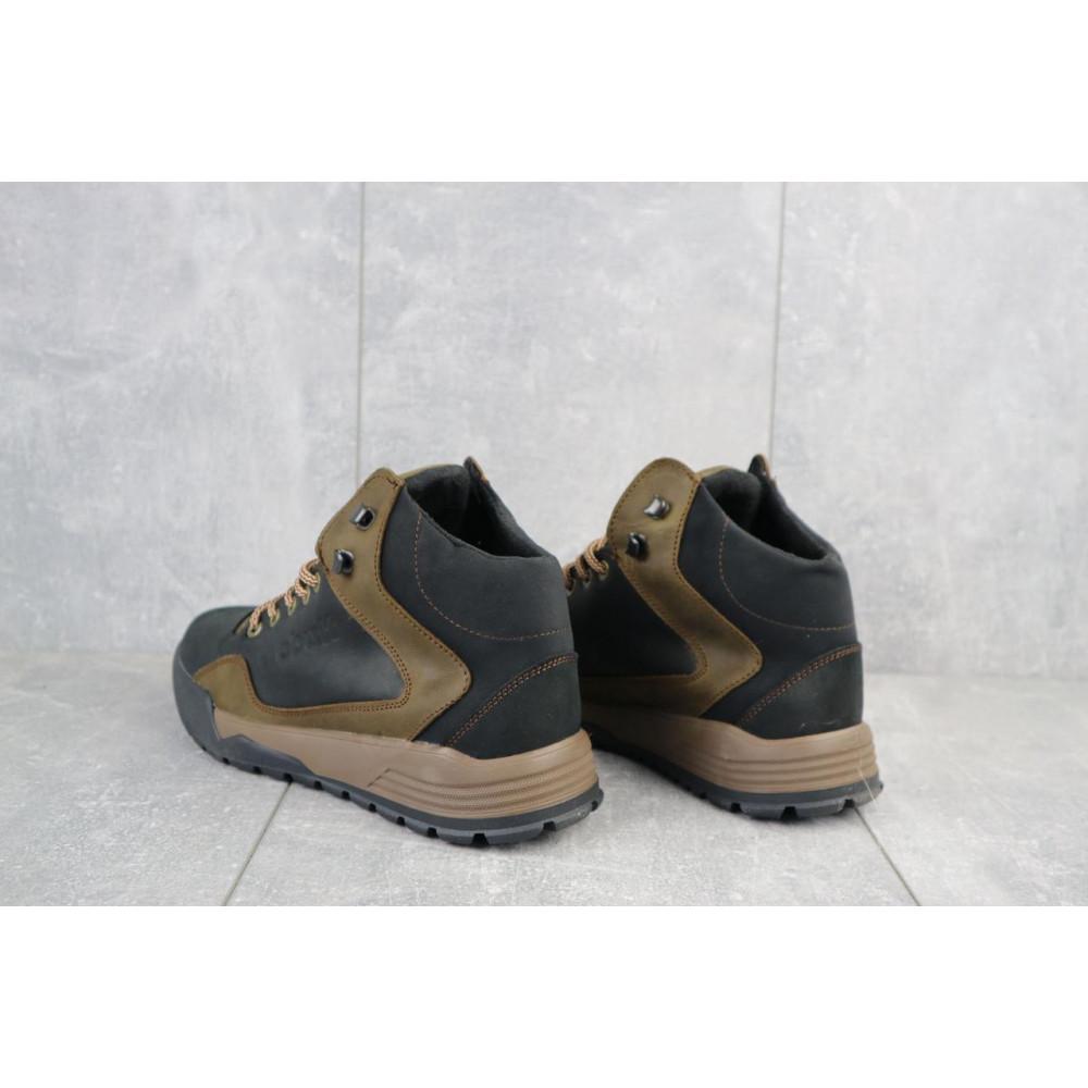 Зимние кроссовки мужские - Мужские кроссовки кожаные зимние черные-оливковые CrosSAV 318 1