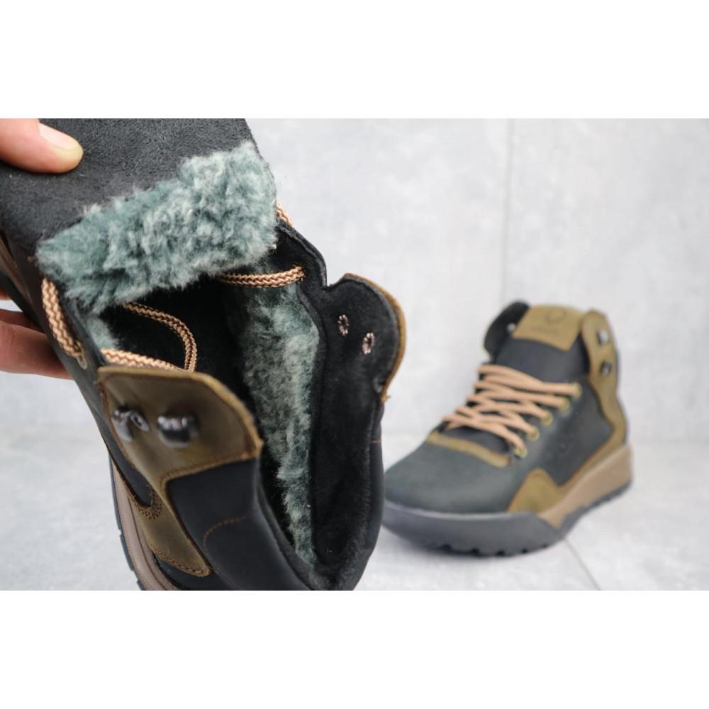 Зимние кроссовки мужские - Мужские кроссовки кожаные зимние черные-оливковые CrosSAV 318 2