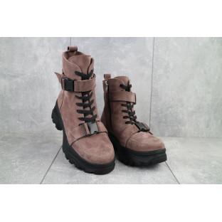 Женские ботинки замшевые зимние бежевые Mkrafvt C249
