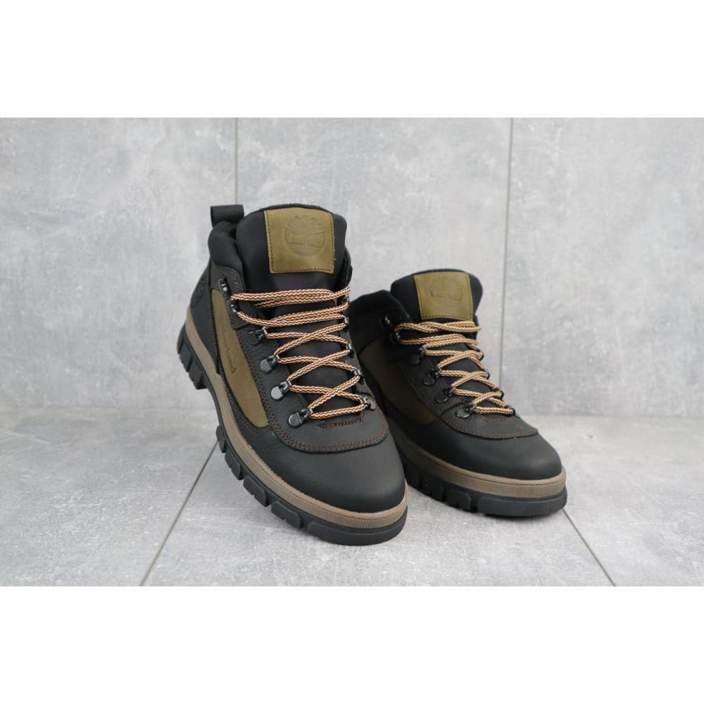 Мужские ботинки зимние - Мужские ботинки кожаные зимние черные-оливковые CrosSAV 301