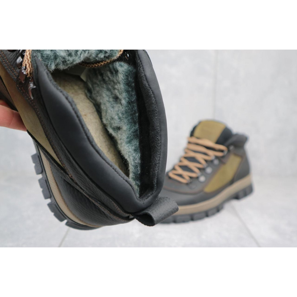 Мужские ботинки зимние - Мужские ботинки кожаные зимние черные-оливковые CrosSAV 301 1