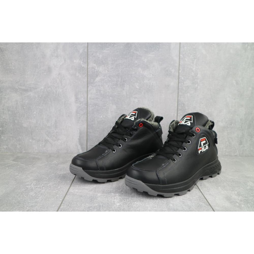 Мужские ботинки зимние - Мужские ботинки кожаные зимние черные Lions F3 2