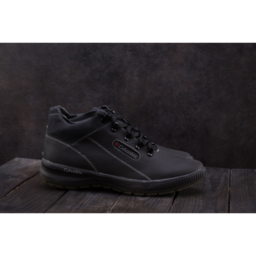 Зимние кроссовки мужские - Мужские кроссовки кожаные зимние черные CrosSAV 92 8