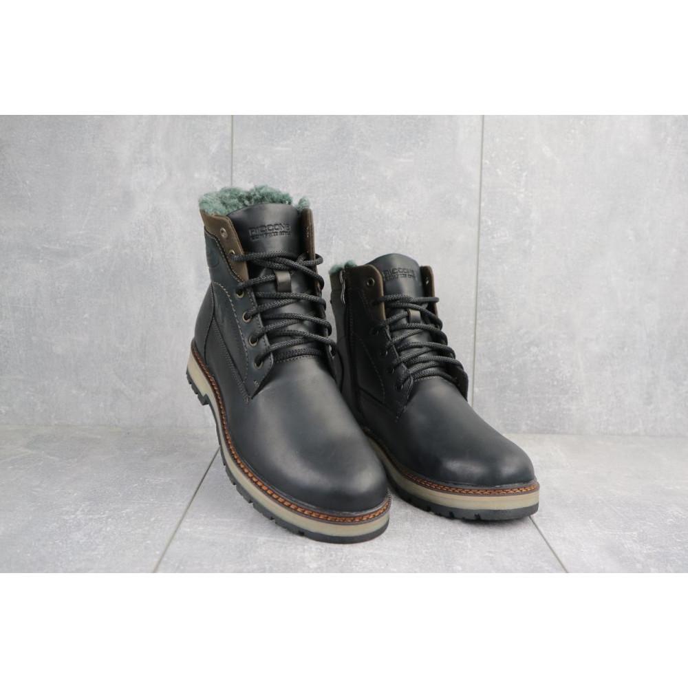 Мужские ботинки зимние - Мужские ботинки кожаные зимние черные Riccone 515