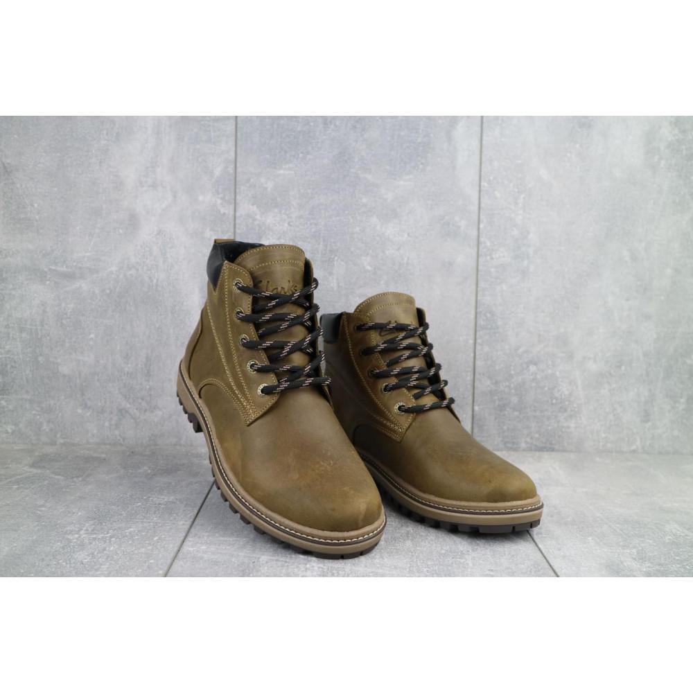 Мужские ботинки зимние - Мужские ботинки кожаные зимние оливковые Yuves 444