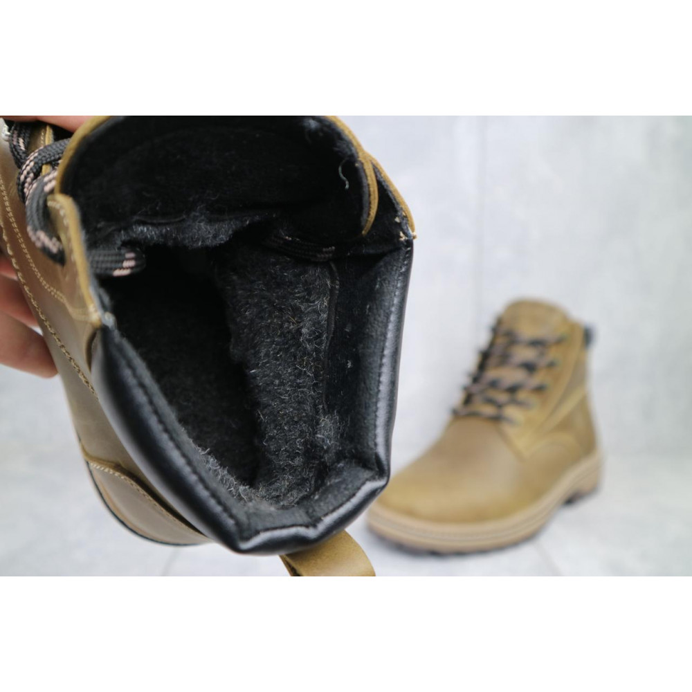 Мужские ботинки зимние - Мужские ботинки кожаные зимние оливковые Yuves 444 5