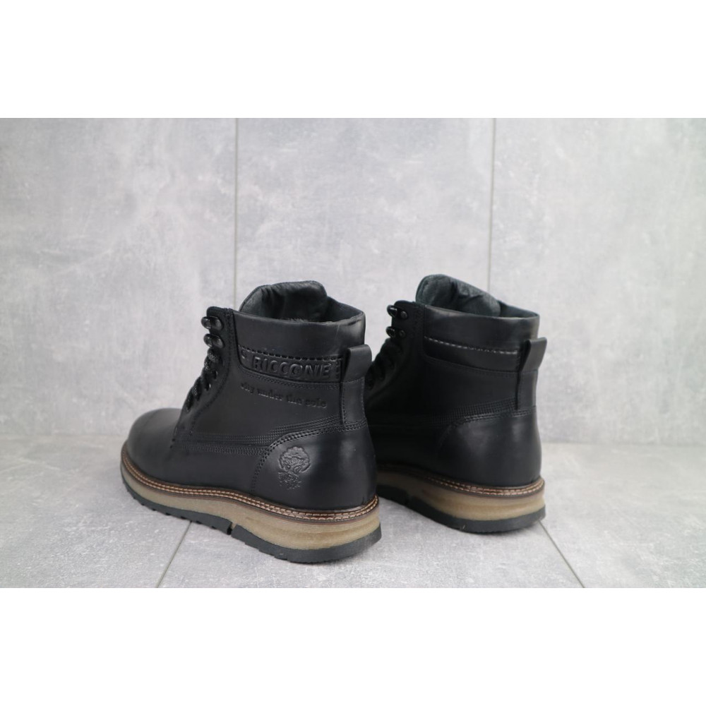 Мужские ботинки зимние - Мужские ботинки кожаные зимние черные Riccone 550 3