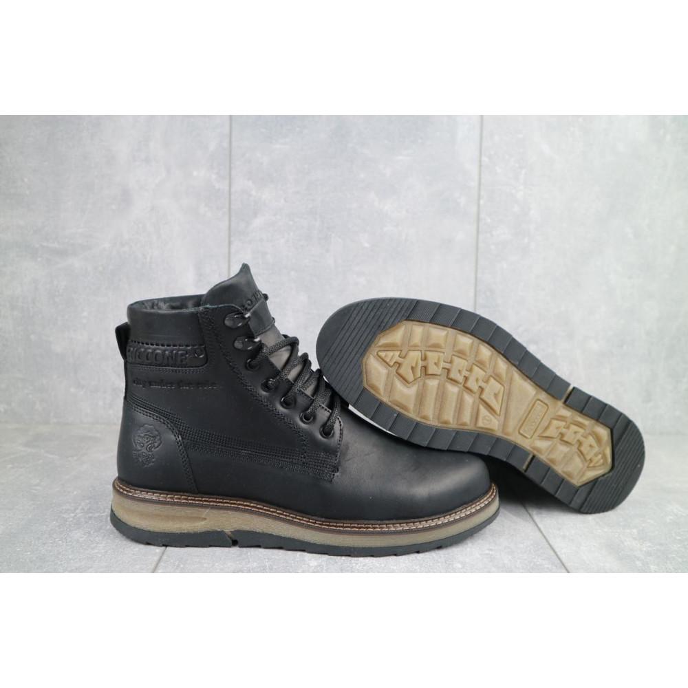 Мужские ботинки зимние - Мужские ботинки кожаные зимние черные Riccone 550 1