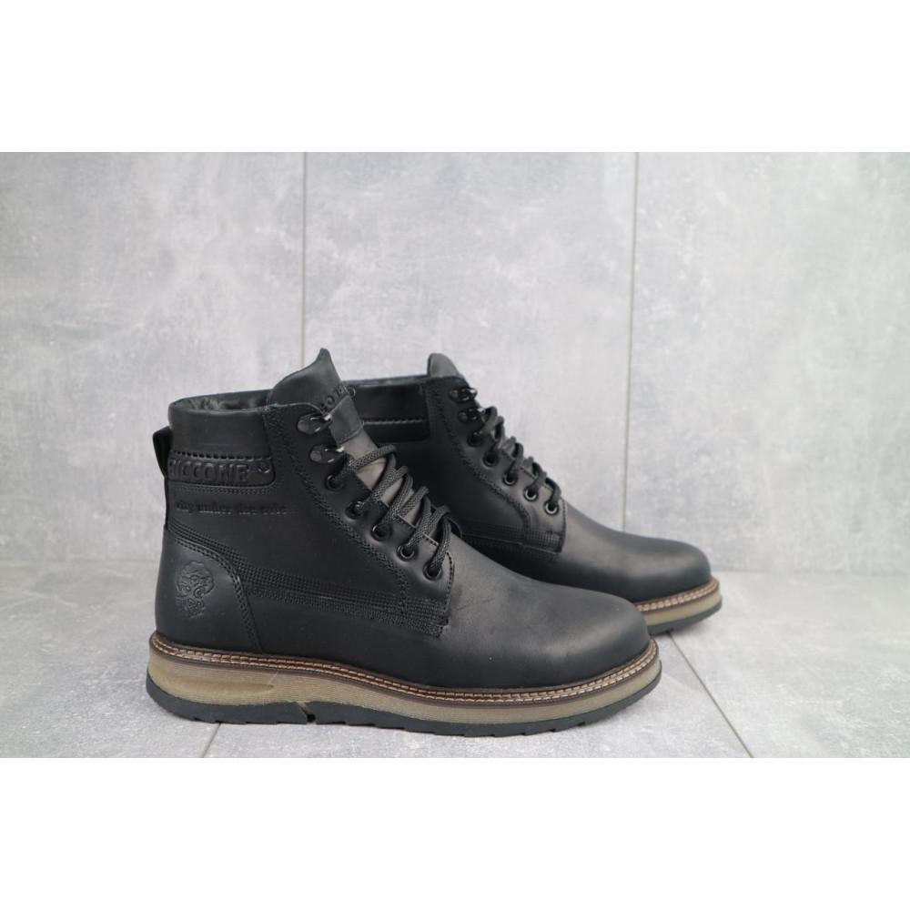 Мужские ботинки зимние - Мужские ботинки кожаные зимние черные Riccone 550 4