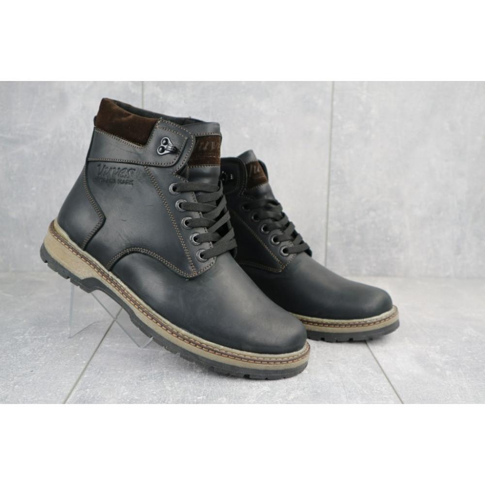 Мужские ботинки зимние - Мужские ботинки кожаные зимние черные-матовые Yuves Obr 3