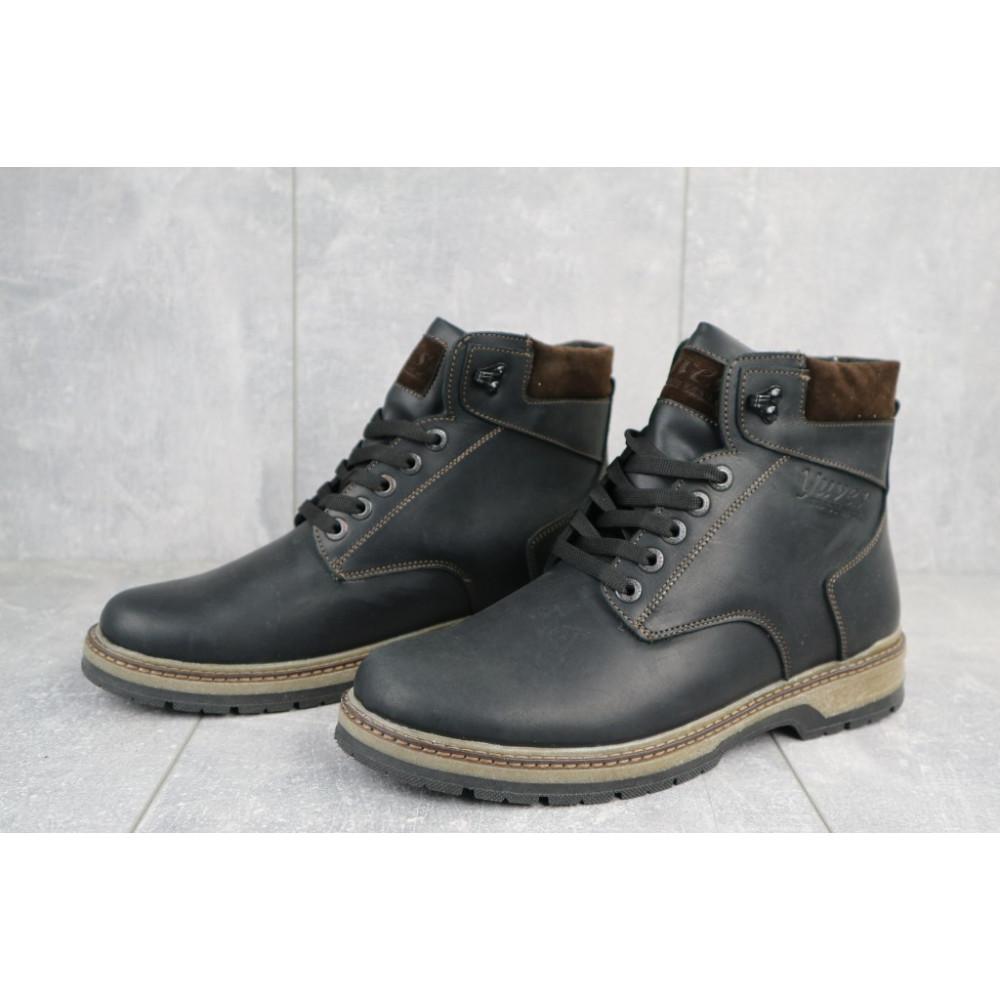 Мужские ботинки зимние - Мужские ботинки кожаные зимние черные-матовые Yuves Obr 3 3