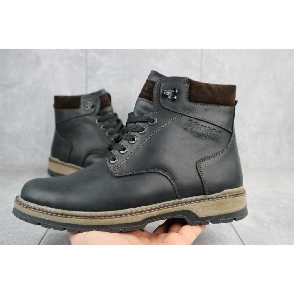 Мужские ботинки зимние - Мужские ботинки кожаные зимние черные-матовые Yuves Obr 3 2