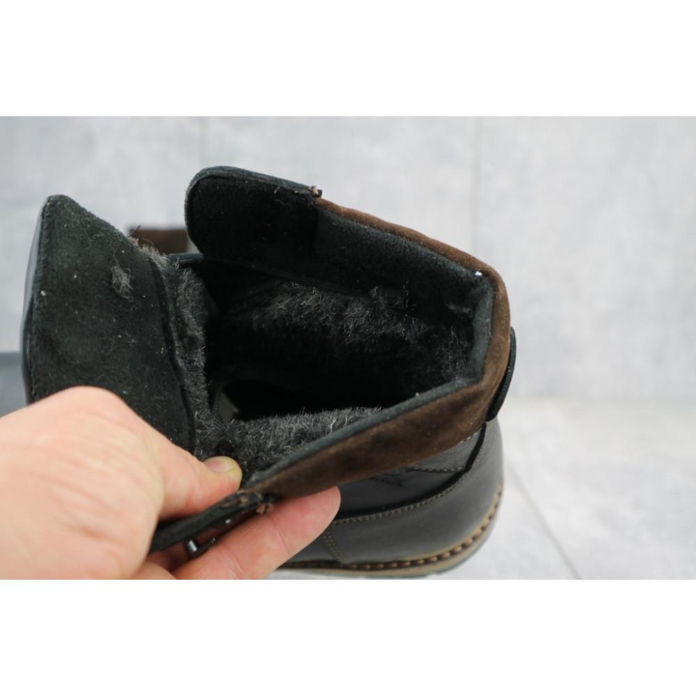 Мужские ботинки зимние - Мужские ботинки кожаные зимние черные-матовые Yuves Obr 3 1