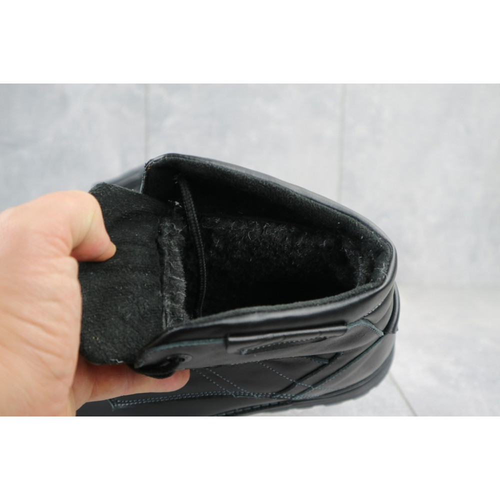 Мужские ботинки зимние - Мужские ботинки кожаные зимние черные Yuves Obr 5 1