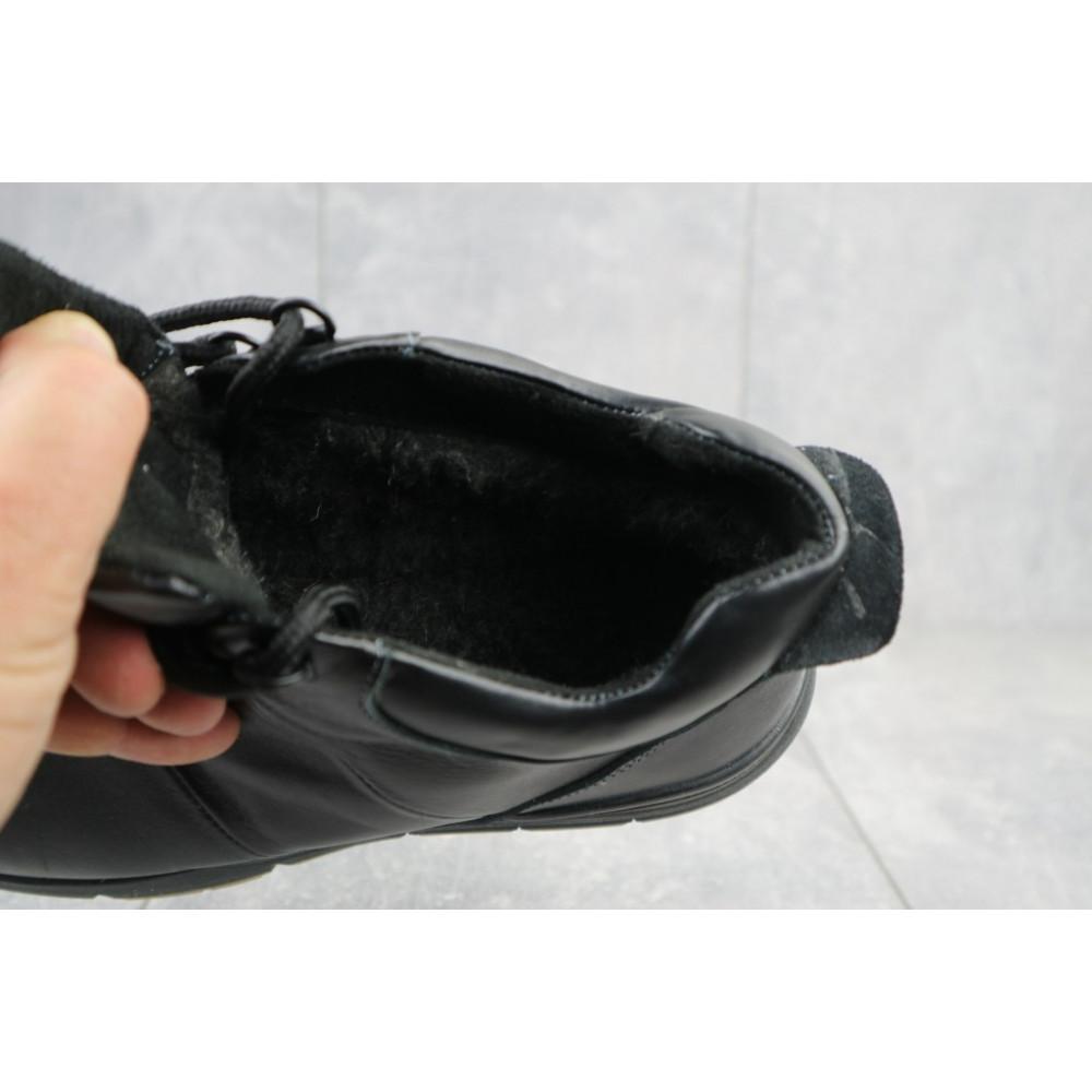 Мужские ботинки зимние - Мужские ботинки кожаные зимние черные Yuves Obr 8 1