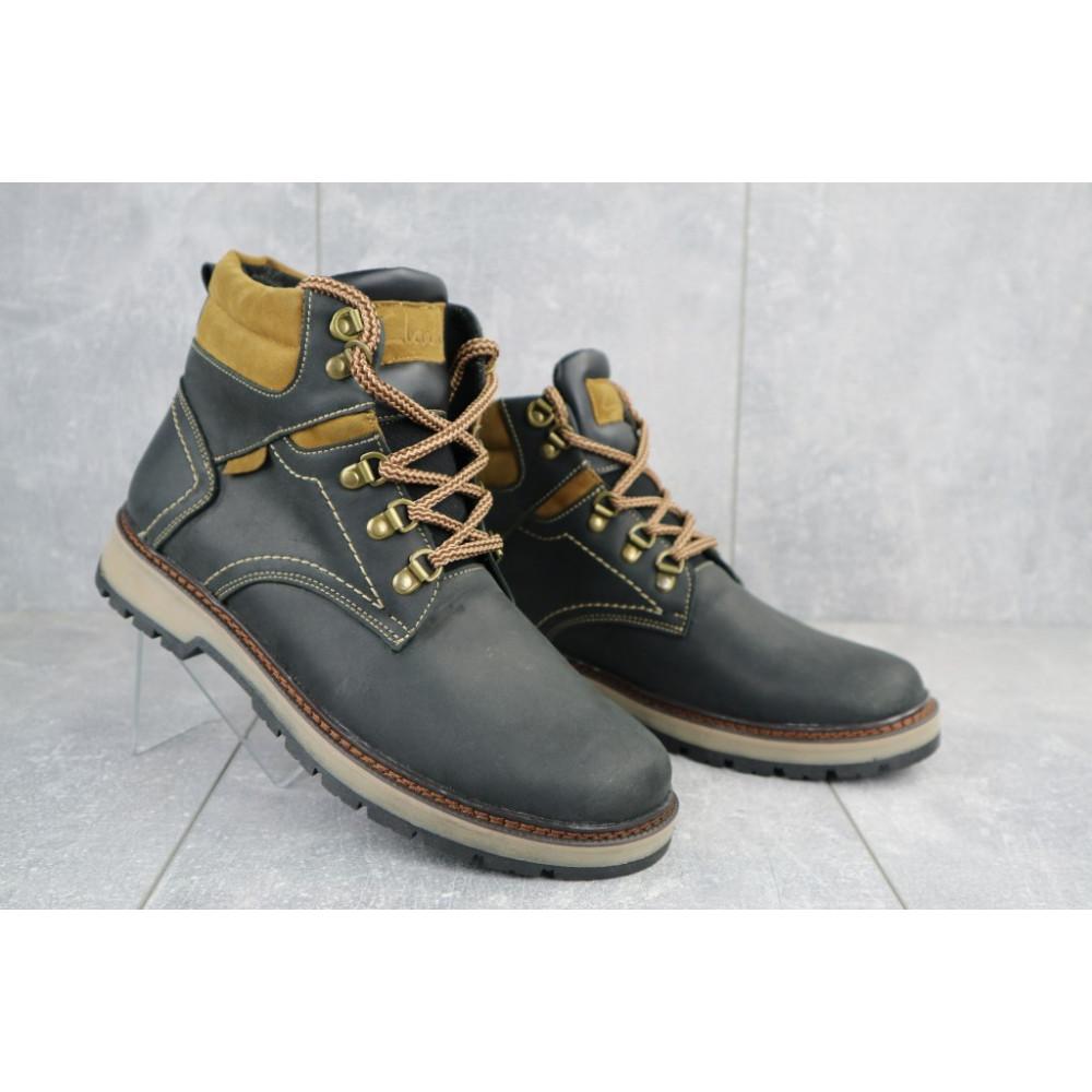Мужские ботинки зимние - Мужские ботинки кожаные зимние черные Yuves Obr 11