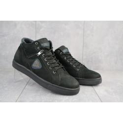 Мужские кеды нубуковые зимние черные Multi-shoes Fox
