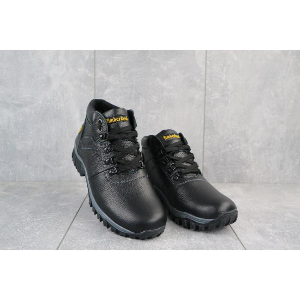Мужские ботинки зимние - Мужские ботинки кожаные зимние черные Yuves 802