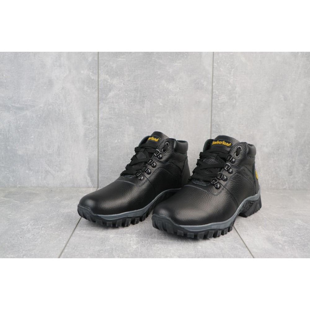 Мужские ботинки зимние - Мужские ботинки кожаные зимние черные Yuves 802 3
