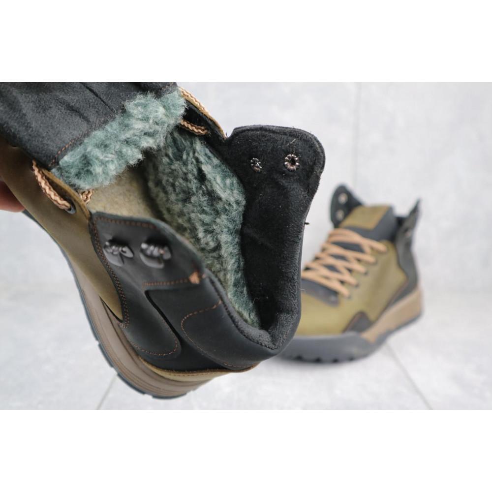 Зимние кроссовки мужские - Мужские кроссовки кожаные зимние оливковые-черные CrosSAV 318 4