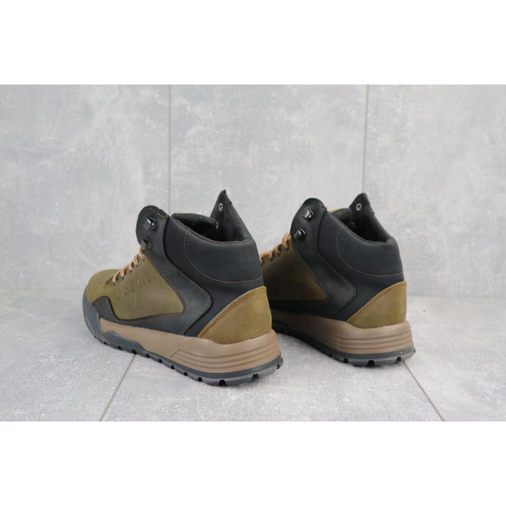Зимние кроссовки мужские - Мужские кроссовки кожаные зимние оливковые-черные CrosSAV 318 1