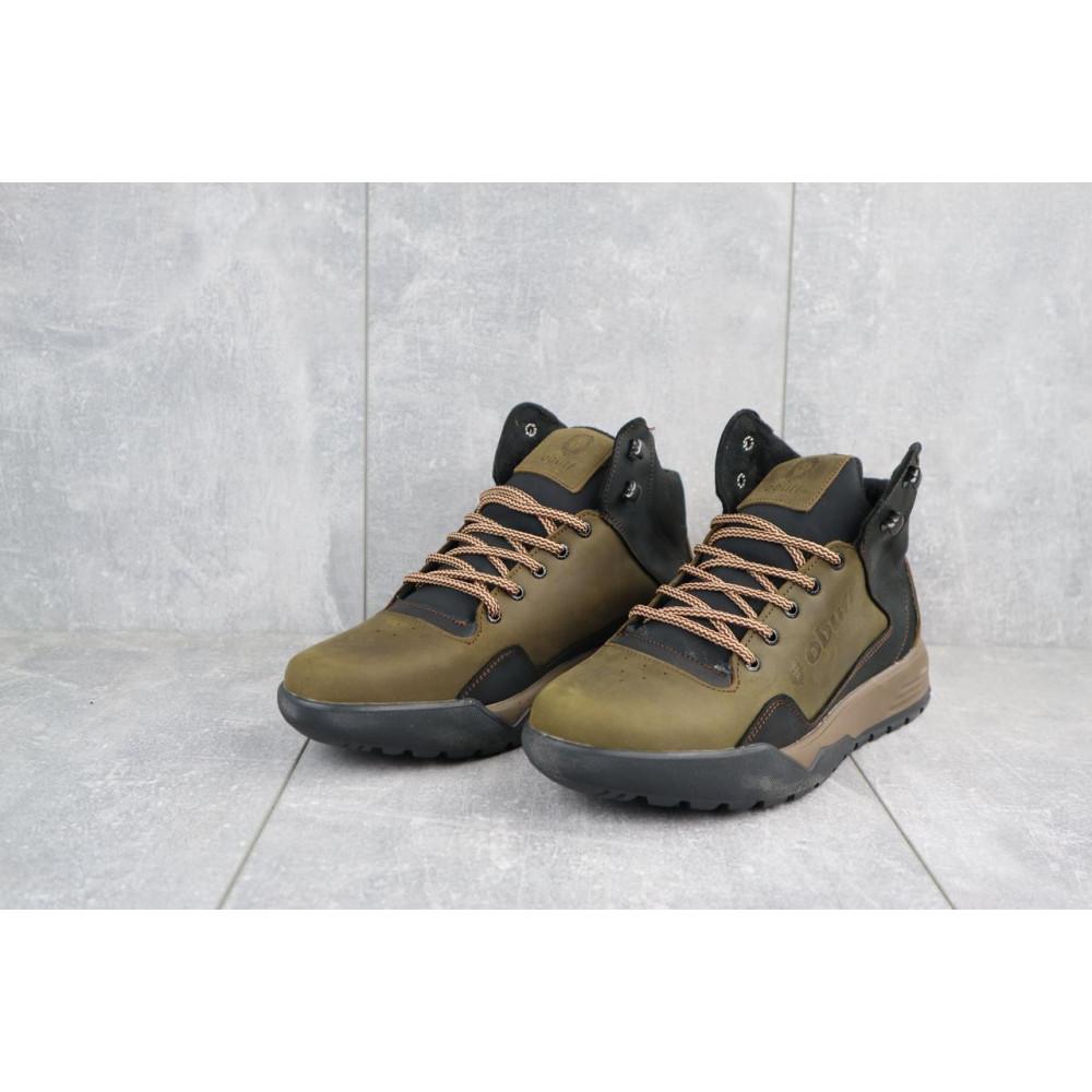 Зимние кроссовки мужские - Мужские кроссовки кожаные зимние оливковые-черные CrosSAV 318 3